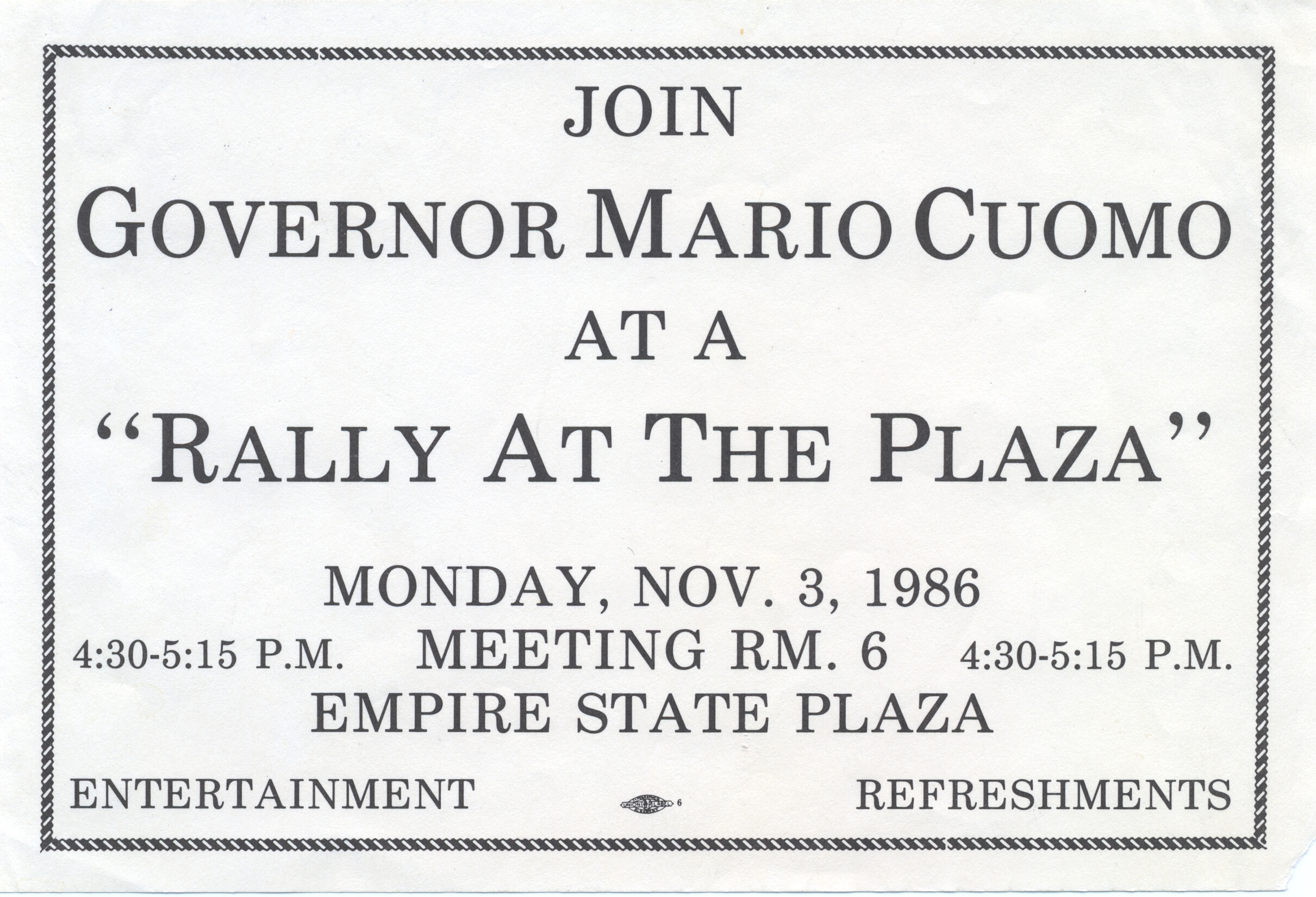 Governor Mario Cuomo 1986 Rally at the Plaza